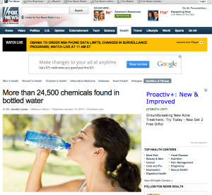 """Prime time American TV is relaying the breaking news: """"We have shown that antiestrogens and antiandrogens are present in the majority of bottled water."""" http://www.foxnews.com/health/2014/01/13/more-than-24500-chemicals-found-in-bottled-water/  Breaking news?  In fact, the study was published last summer (onAugust 28, 2013 in PLoS One  http://www.plosone.org), but it took a few months to shake up public opinion and get the attention it deserves. Researchers from Goethe University in Frankfurt, Germany and from the German Federal Institute of Hydrology, teamed up to test 18 different bottled water products from around the world.  More than 24,500 different chemicals were found in the bottled waters,  and Endocrine-Disrupting Chemicals (EDCs), which interfere with an organism's hormonal systems, are of  particular concern. 13 of the 18 bottled water products tested exhibited """"significant"""" anti-estrogenic activity, while 16 of the 18 samples were found to inhibit the body's androgen receptors by an astounding 90 percent.  """"This work is a 'tour de force' in identification of endocrine disruptors in packaged materials,"""" says Bruce Blumberg from the University of California, Irvine, as quoted in Chemistry World. This type of analysis, he adds, """"will be very important for our future understanding of what chemicals we are routinely exposed to and which of these pose hazards of being endocrine disruptors.""""  Let's hope that this new study will help address a long-standing issue. In 2010, Medical News Today reported on a study that found that adults who had been exposed to EDCs prenatally may be ay higher risk of breast cancer, after a study in mice revealed the compound could program a fetus for life; and a year ago (my post January 29 2013), I already commented at length about the toxicity of plastic bottles, and how for years the FDA has wrestled with a long overdue ban of bisphenol-A (BPA), a common chemical used to make plastic bottles and linings of cans, from food-relat"""